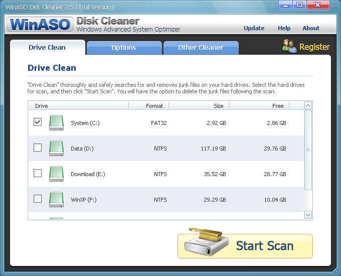 WinASO Disk Cleaner screenshot
